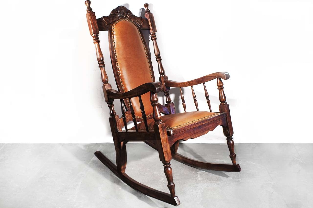 Well Liked Leather Rocking Chair Awesome Sold Victorian Era Oak Rocking Chair Inside Victorian Rocking Chairs (View 14 of 15)