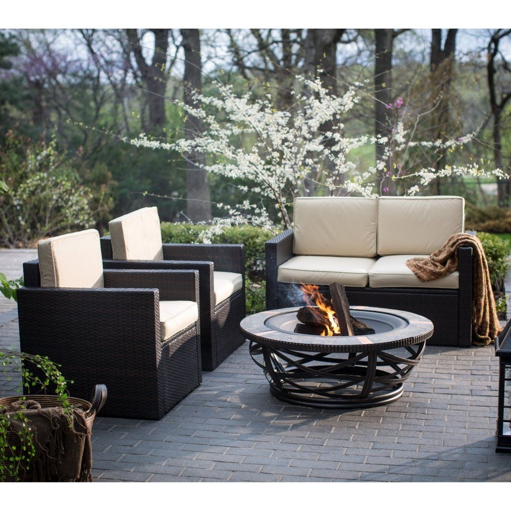 Well Liked Patio Conversation Sets With Fire Pit Pertaining To Palm Harbor Tile Fire Pit Chat Set – Fire Pit Patio Sets At (View 15 of 15)