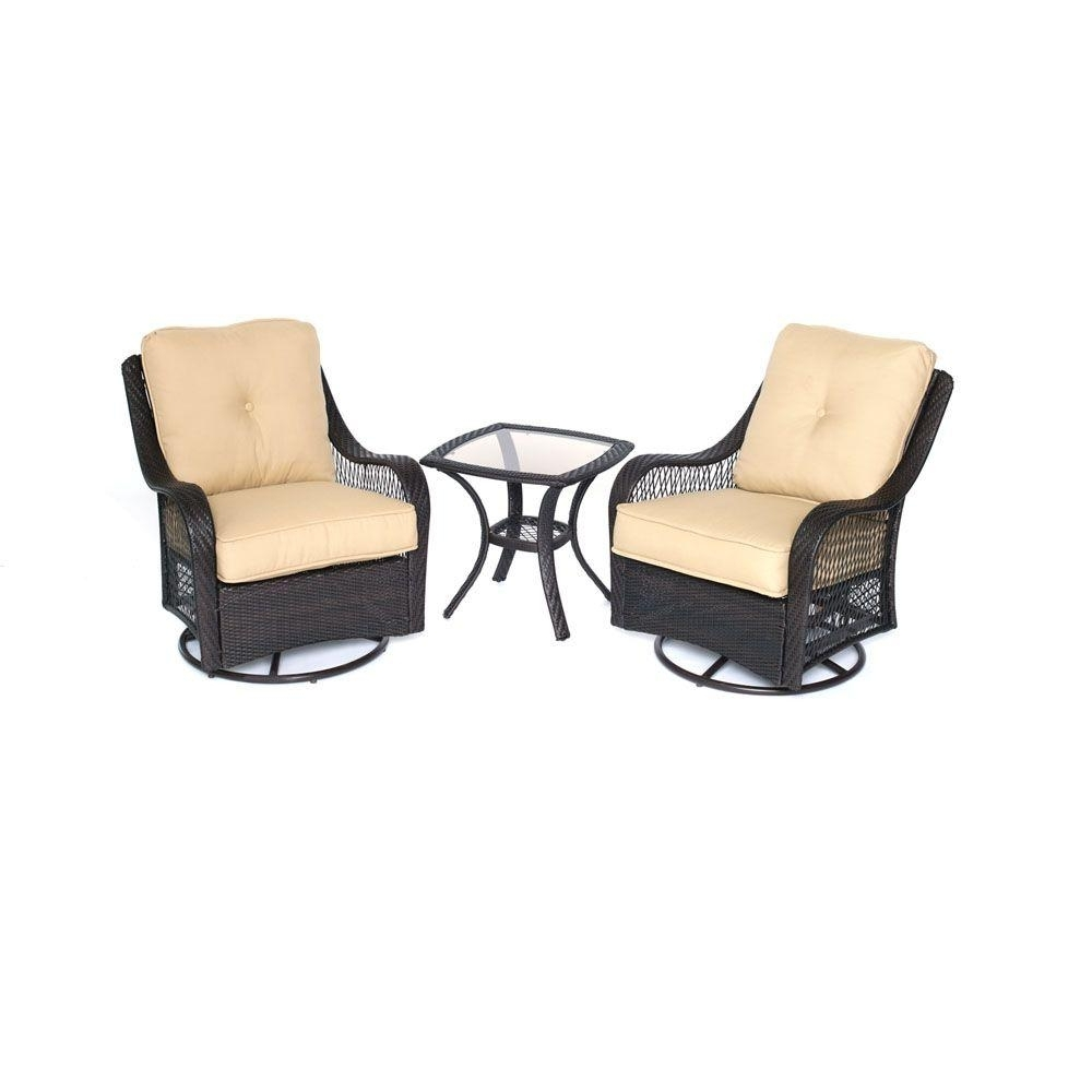 Well Liked Patio Conversation Sets With Swivel Chairs With Regard To Hanover Orleans 3 Piece All Weather Wicker Patio Swivel Rocking Chat (View 14 of 15)