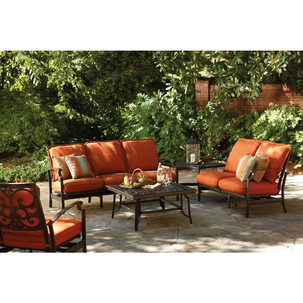 Well Liked Patio Furniture Conversation Sets At Home Depot Inside Thomasville Messina 4 Piece Patio Sectional Seating Set With Paprika (View 2 of 15)