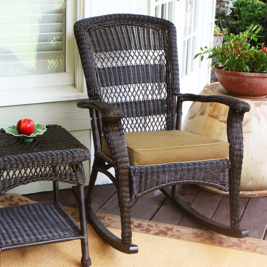 Well Liked Shop Tortuga Outdoor Portside Wicker Rocking Chair With Khaki Regarding Wicker Rocking Chairs With Cushions (View 7 of 15)