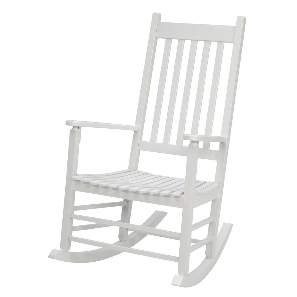 White Patio Rocking Chairs Throughout Most Up To Date Jack Post White Mission Patio Rocker 08100877 – The Home Depot (View 14 of 15)