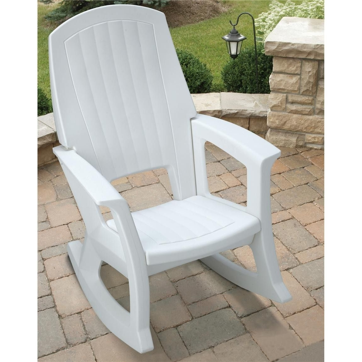 White Resin Patio Rocking Chairs intended for Well known Semco Plastics White Resin Outdoor Patio Rocking Chair Semw : Rural