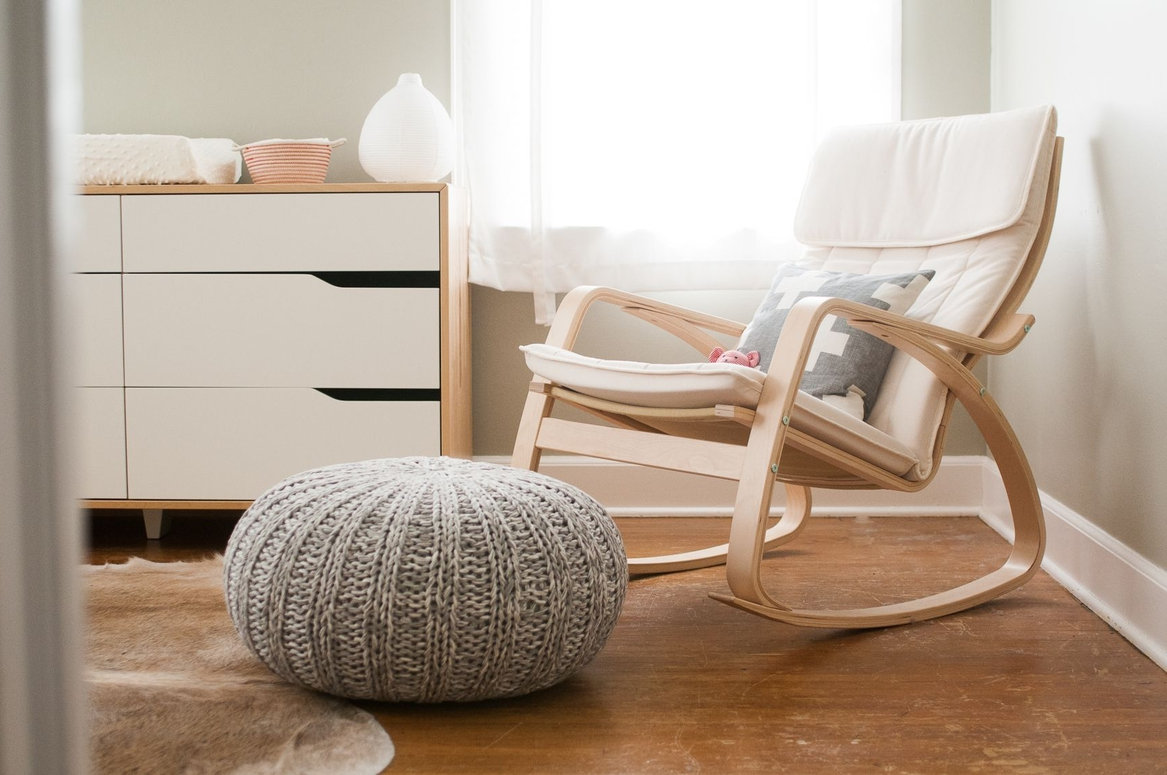 White Wicker Rocking Chair For Nursery With Regard To Most Recent Ikea Poang Rocking Chair For Gray And White Nursery (View 15 of 15)