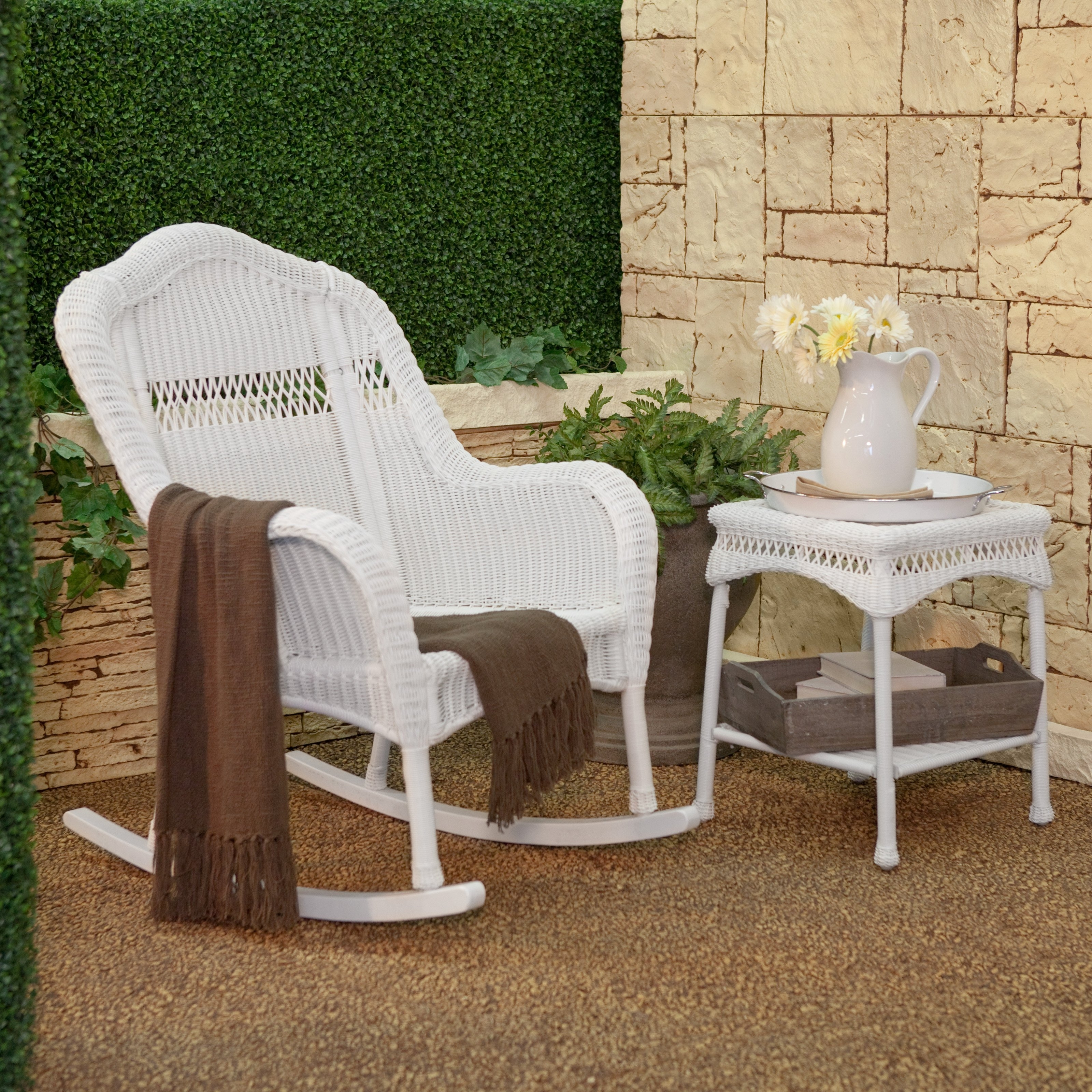 White Wicker Rocking Chairs Pertaining To Latest Coral Coast Casco Bay Resin Wicker Rocking Chair With Cushion Option (View 6 of 15)