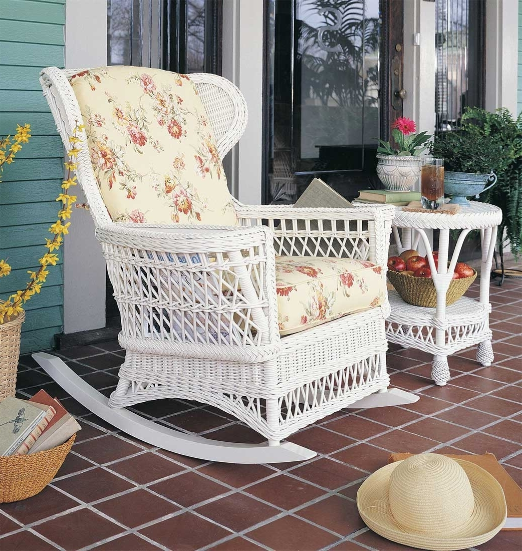 White Wicker Rocking Chairs Porch Martha Stewart Chair Indoor For Inside Widely Used White Wicker Rocking Chair For Nursery (View 5 of 15)