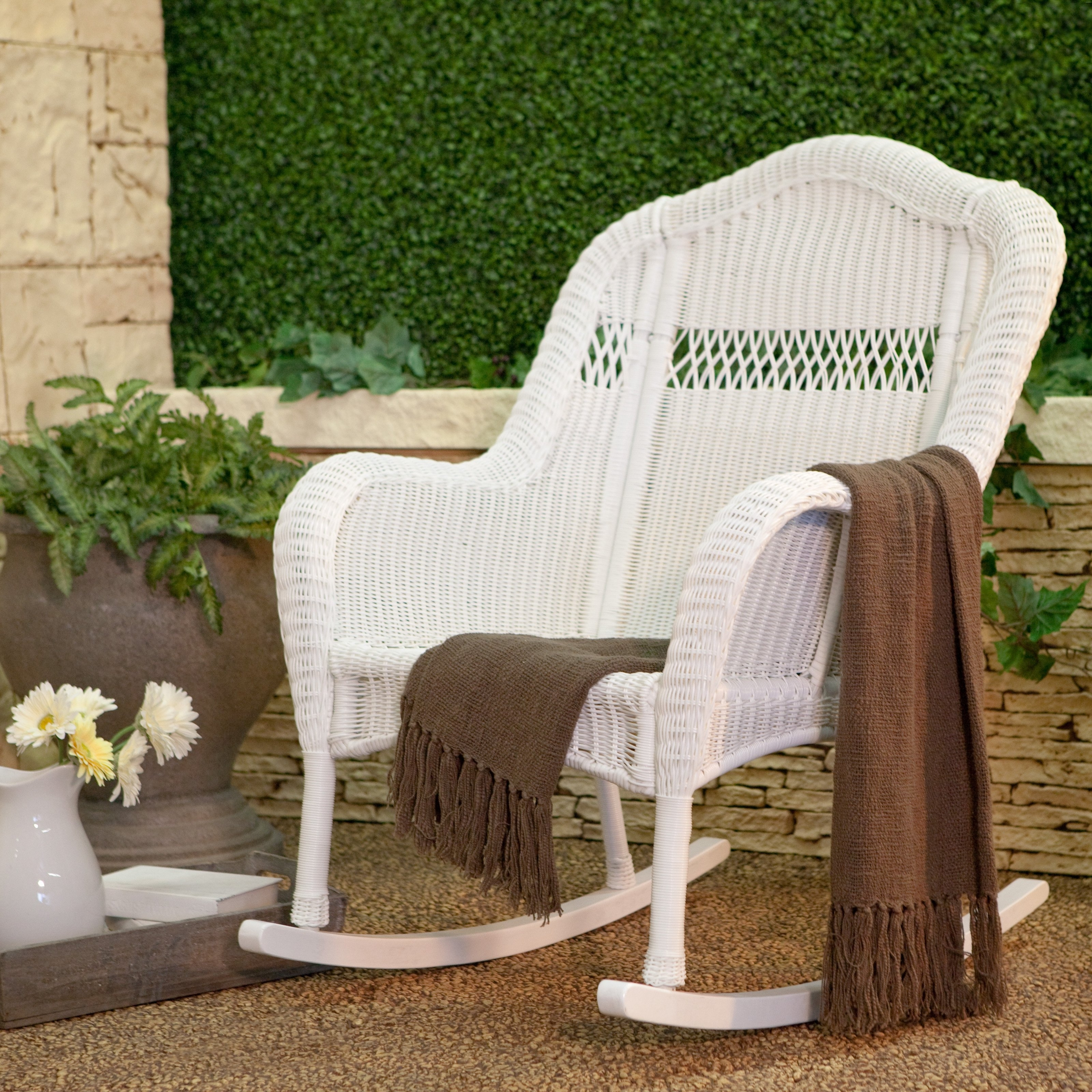 White Wicker Rocking Chairs With Regard To Well Liked Coral Coast Casco Bay Resin Wicker Rocking Chair (View 10 of 15)