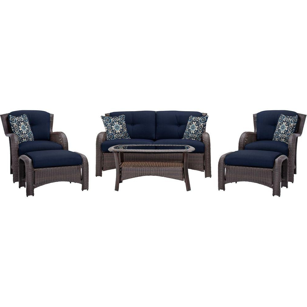 Wicker 4Pc Patio Conversation Sets With Navy Cushions With Regard To Best And Newest Hanover Strathmere 6 Piece All Weather Wicker Patio Deep Seating Set (View 12 of 15)