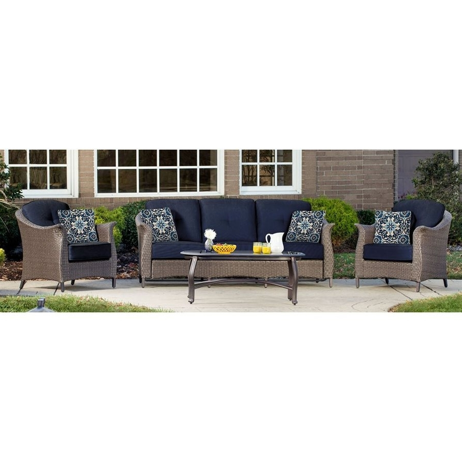 Wicker 4Pc Patio Conversation Sets With Navy Cushions Within Widely Used Shop Hanover Outdoor Furniture Gramercy 4 Piece Wicker Frame Patio (View 4 of 15)