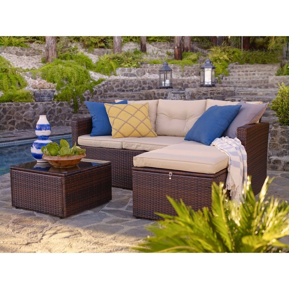 Wicker Conversation Patio Set 3 Piece Outdoor Furniture Storage With Most Up To Date Patio Conversation Sets With Storage (View 15 of 15)