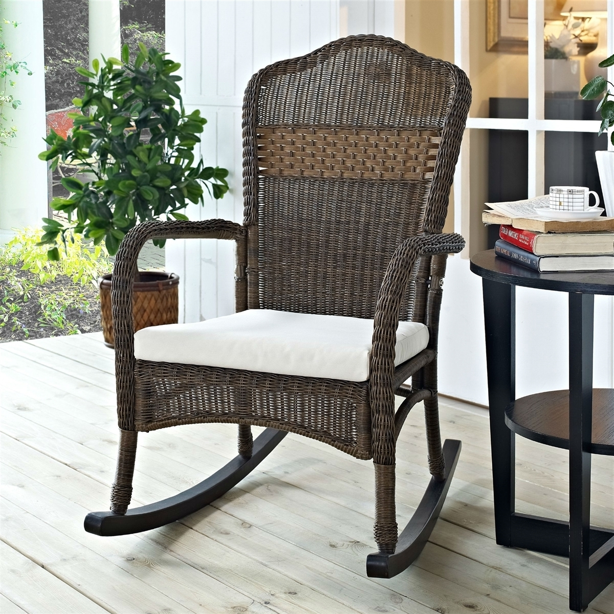 Wicker Patio Furniture Rocking Chair Mocha With Beige Cushion With Regard To Trendy Brown Wicker Patio Rocking Chairs (View 15 of 15)