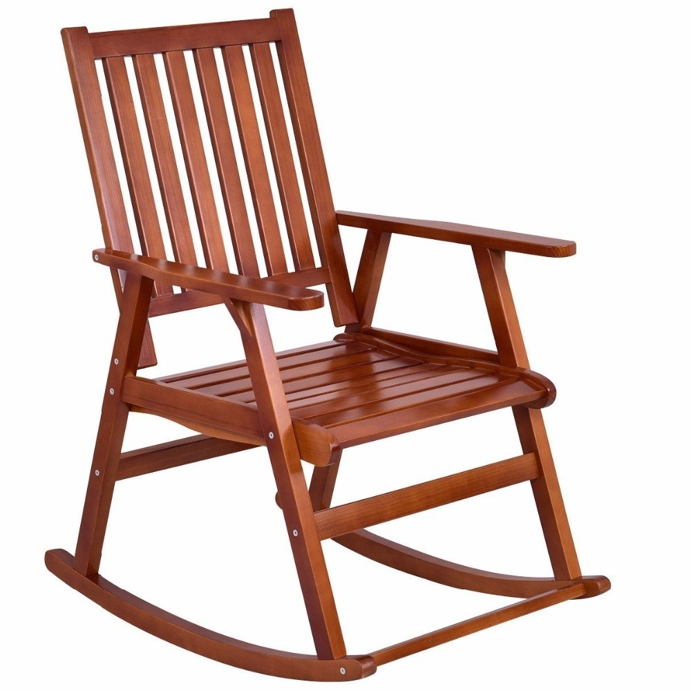 Wicker Rocking Chair With Magazine Holder For Recent Giantex Wood Rocking Chair Garden Single Porch Rocker Indoor Outdoor Rocker Patio Furniture Hw56205 In Garden Chairs From Furniture On Aliexpress (View 14 of 15)