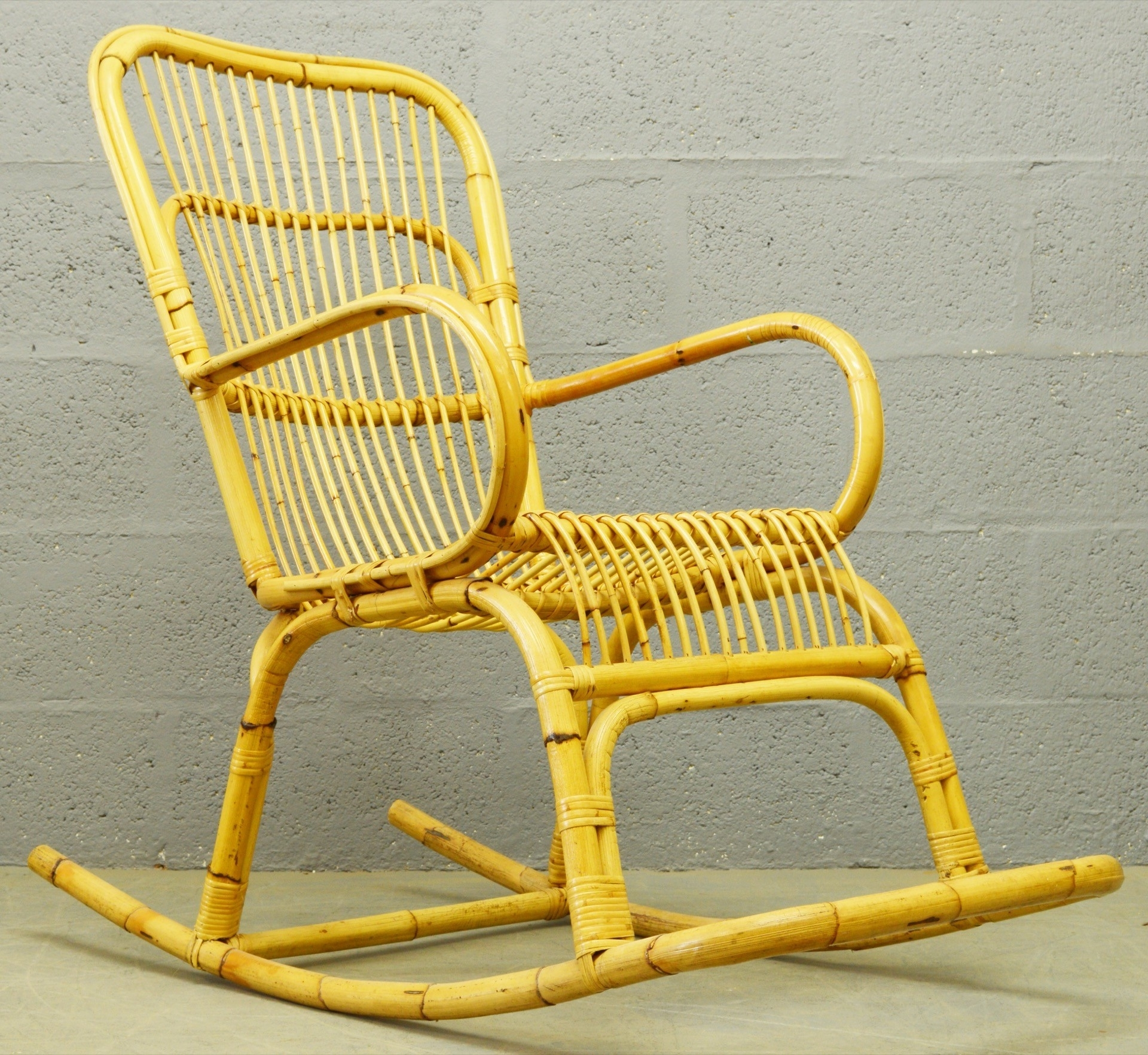 Wicker Rocking Chair With Magazine Holder In Famous Mid Century Bamboo And Rattan Rocking Chair – 1960S – Design Market (View 8 of 15)