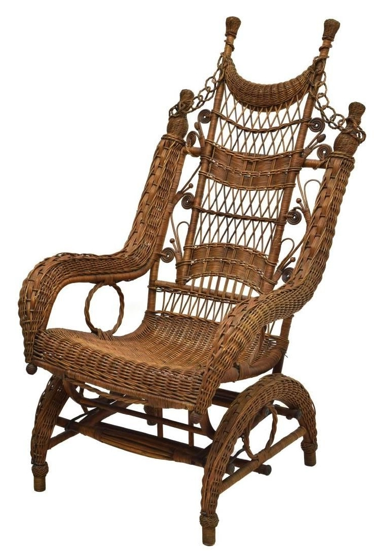 Wicker Rocking Chair With Magazine Holder In Widely Used Fancy Ordway Wicker Rocking Chair, C (View 6 of 15)