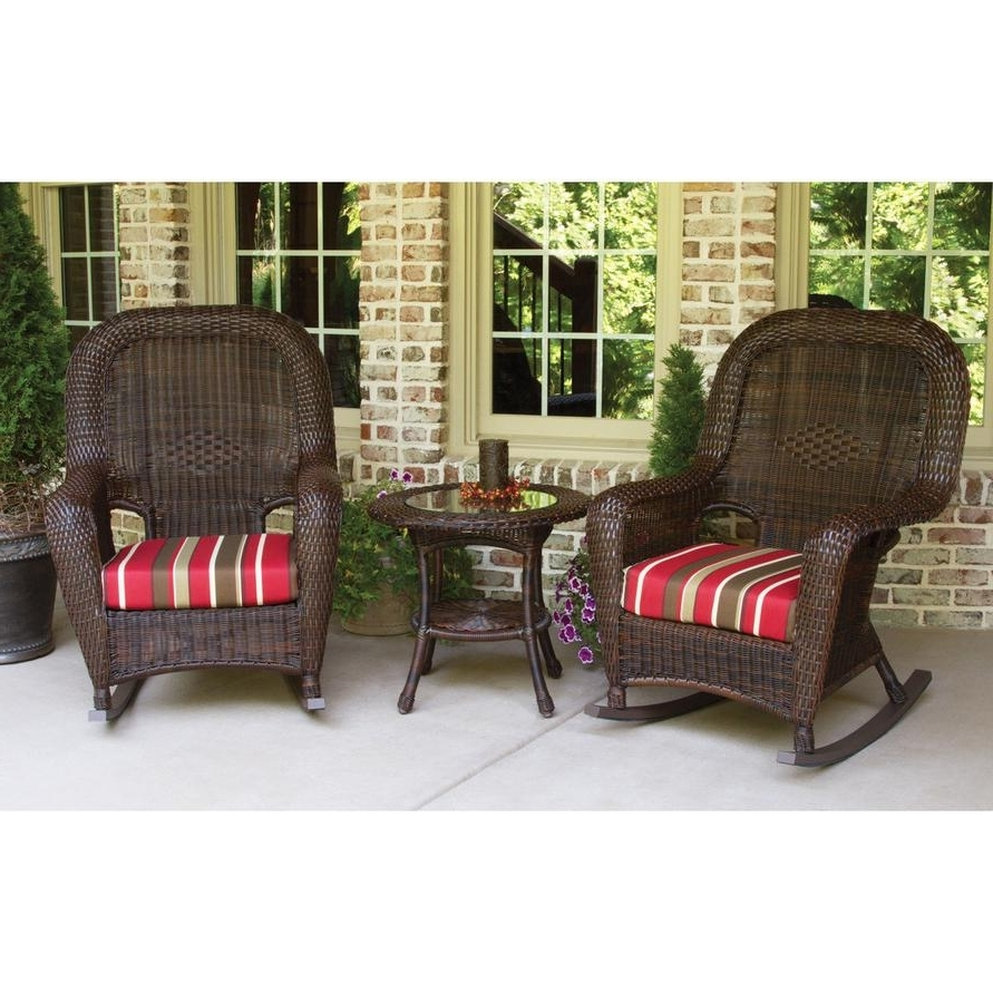 Wicker Rocking Chairs Sets For Best And Newest Tortuga Outdoors Lexington Resin Wicker Rocker Set – Rocking Furniture (View 7 of 15)