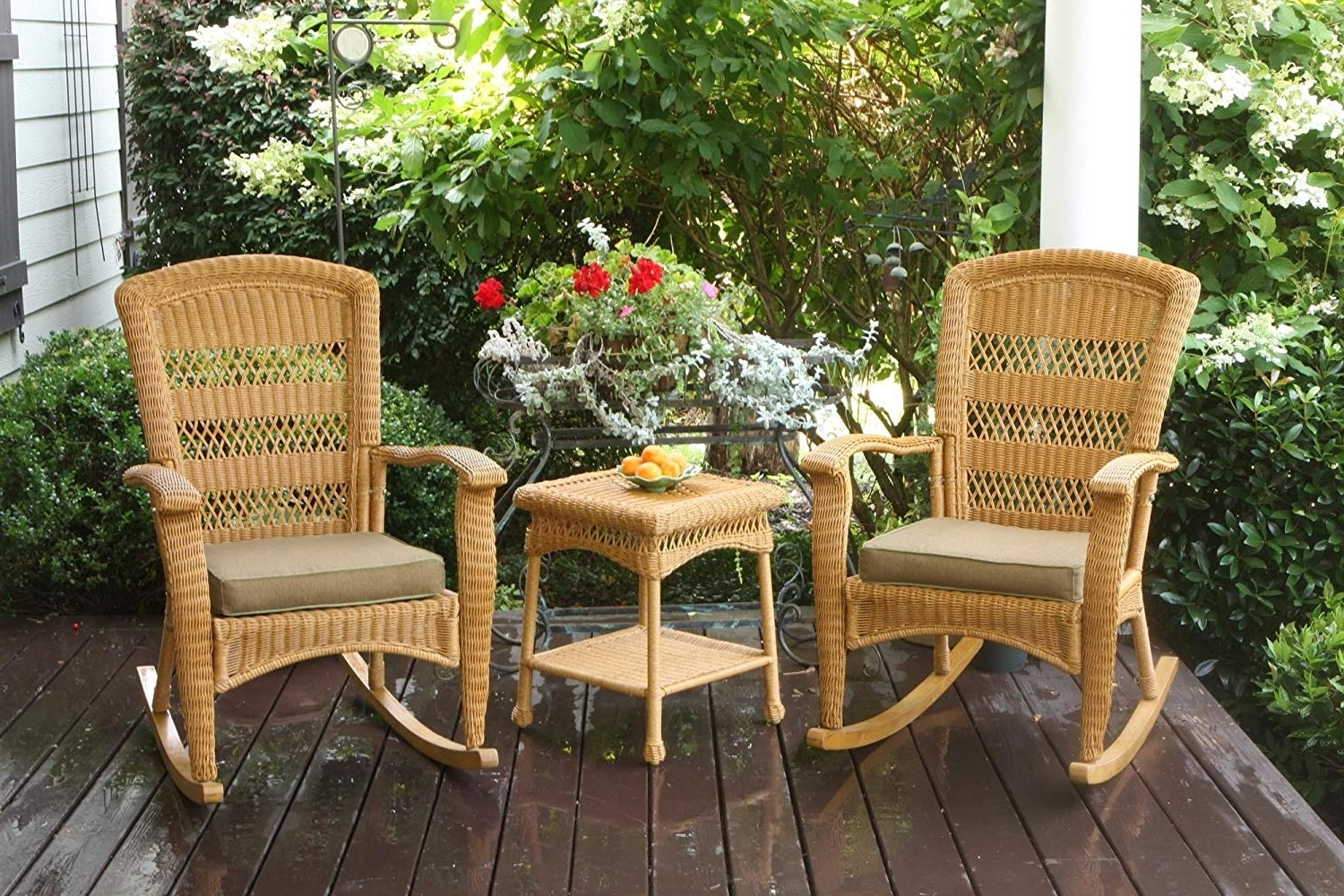 Wicker Rocking Chairs Sets In Favorite Amazon : Tortuga Outdoor Plantation Rocking Chair Set – Dark (View 14 of 15)