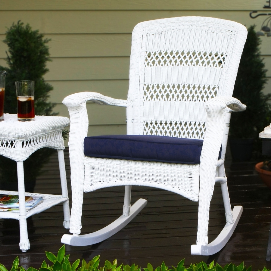 Wicker Rocking Chairs With Cushions Inside Fashionable Shop Tortuga Outdoor Portside Wicker Rocking Chair With Navy Cushion (View 14 of 15)