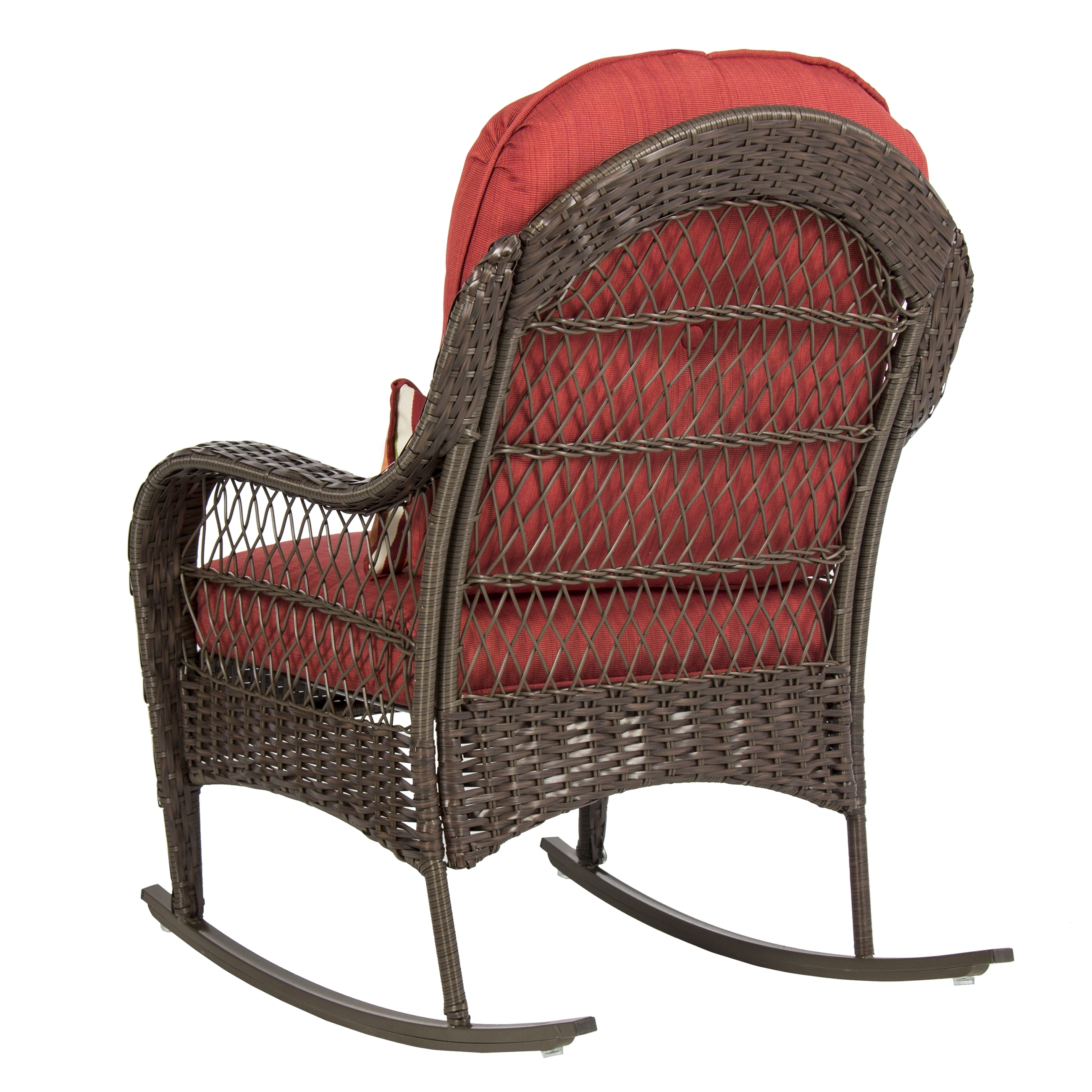 Wicker Rocking Chairs With Cushions With Latest Best Choice Products Wicker Rocking Chair Patio Porch Deck Furniture (View 6 of 15)