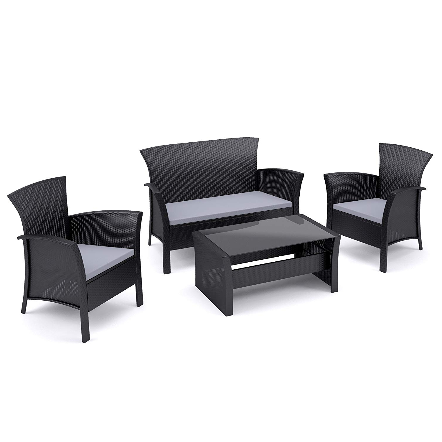 Widely Used Amazon : Corliving Pcs 506 K Cascade 4 Piece Patio Set, Black With Black Patio Conversation Sets (View 7 of 15)