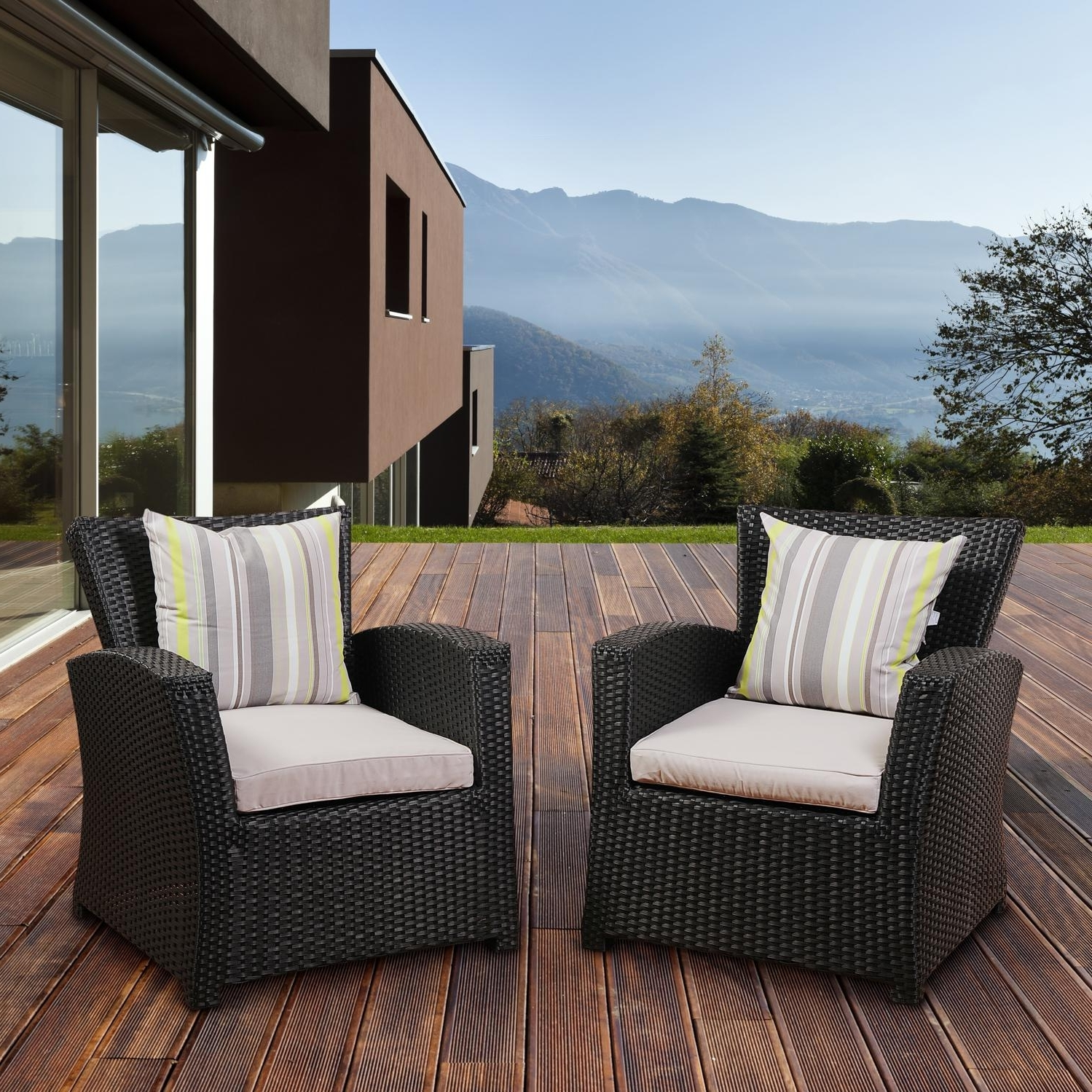 Widely Used Atlantic Staffordshire 4 Person Resin Wicker Patio Conversation Set With Black Patio Conversation Sets (View 10 of 15)