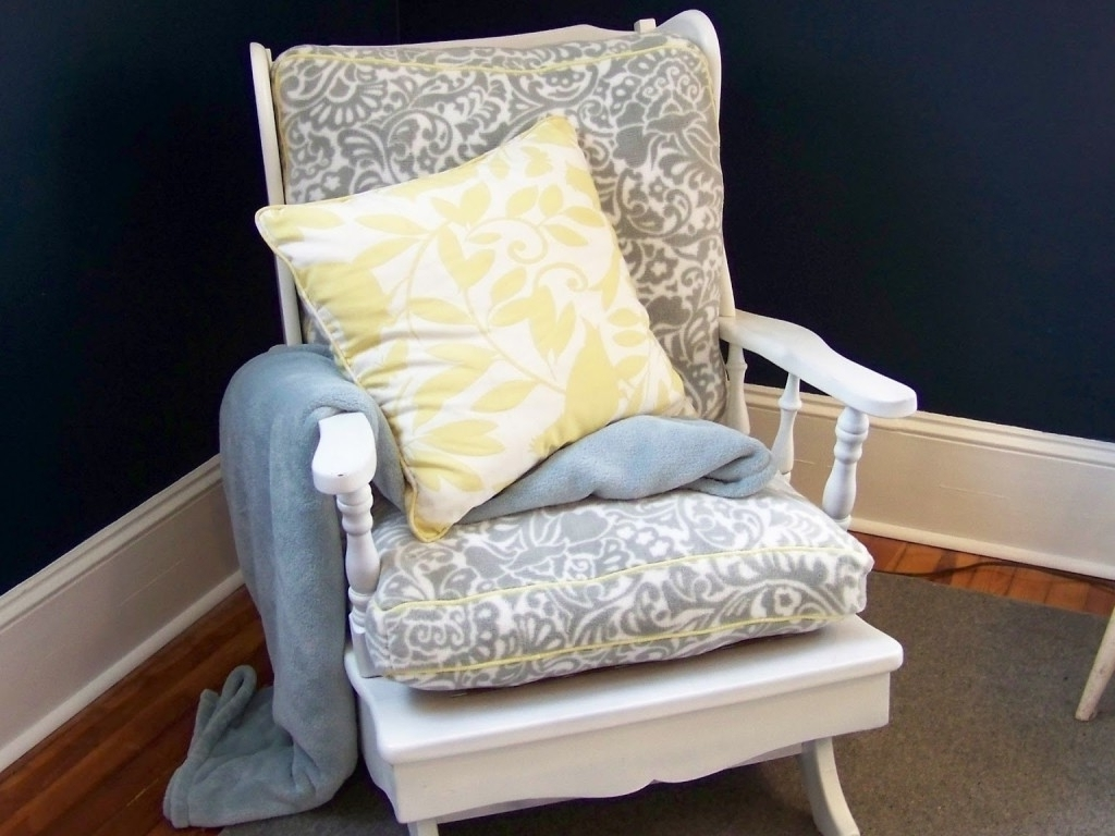 Widely Used Rocking Chairs With Cushions With Regard To Yellow Cushions For Rocking Chairs With Floral Motif Design (View 14 of 15)
