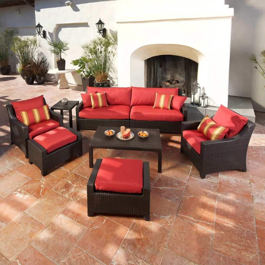 Widely Used Shop Rst Brands Deco Cantina Red 8 Piece Wicker Patio Conversation For Red Patio Conversation Sets (View 15 of 15)