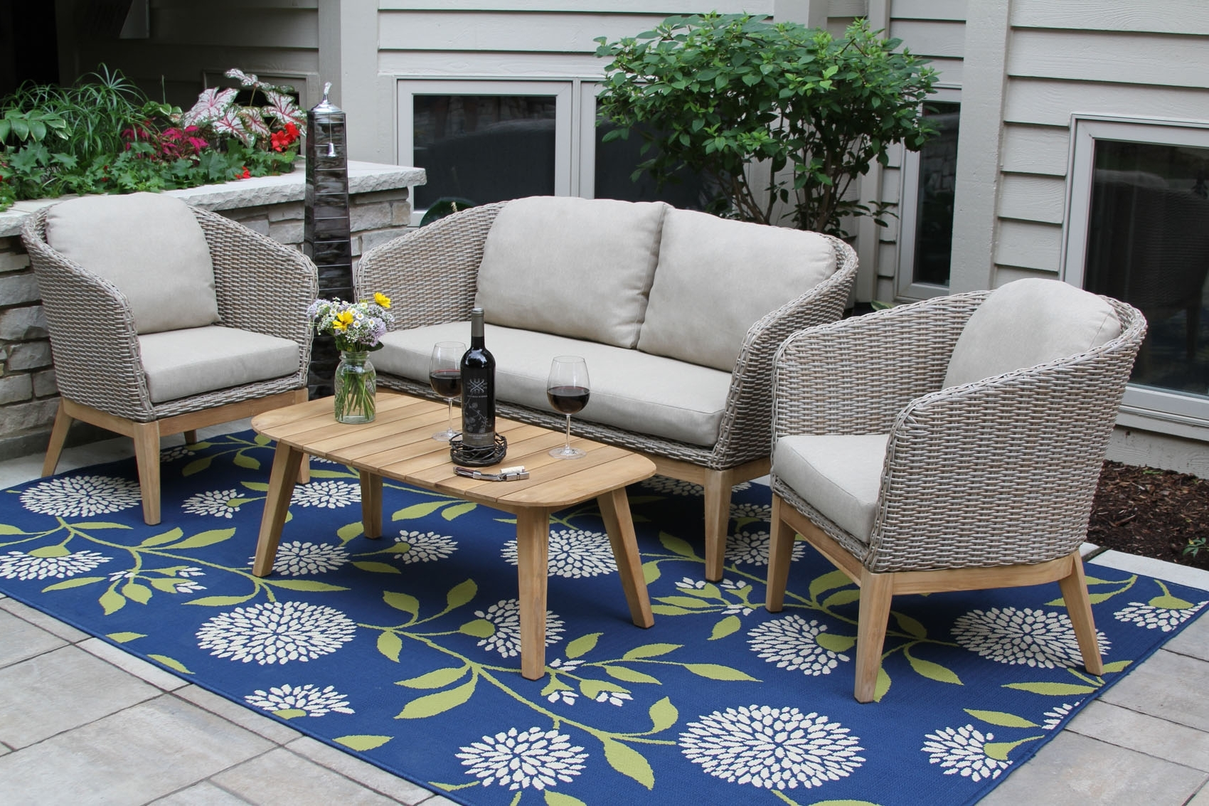 Widely Used Teak Patio Conversation Sets With 4Pc (View 15 of 15)