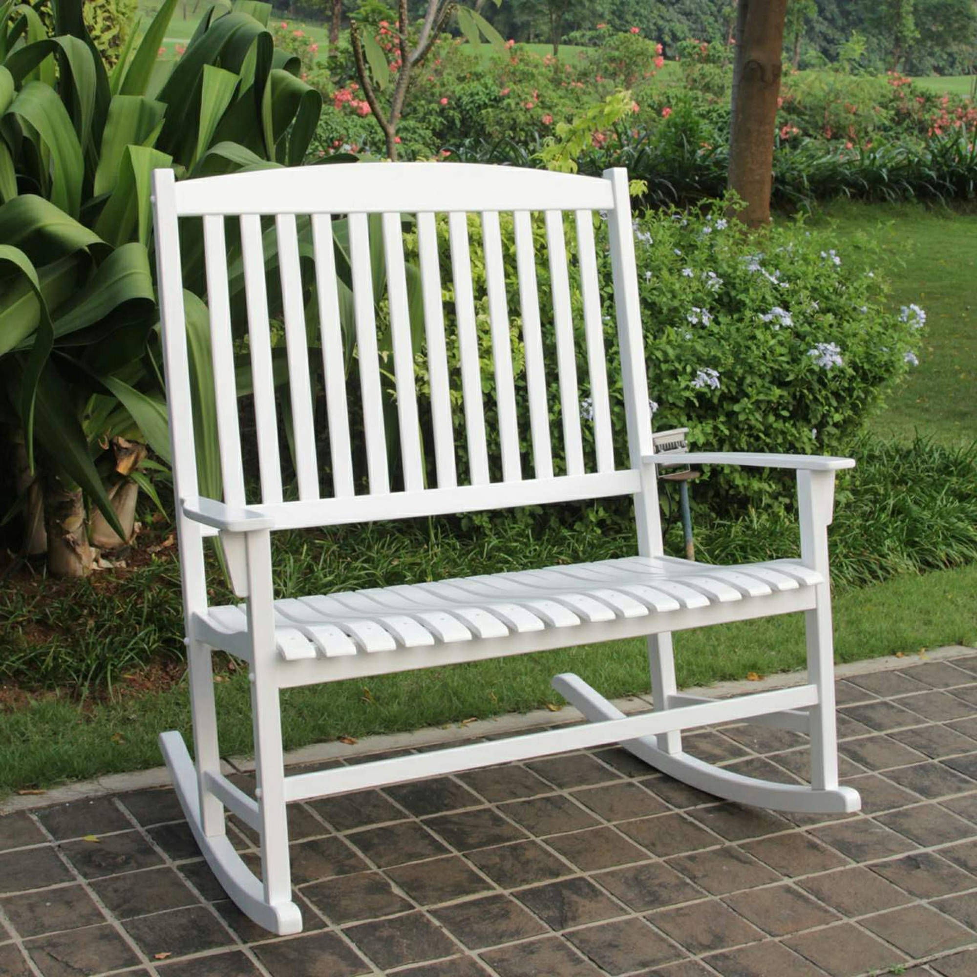 Widely Used White Patio Rocking Chairs Throughout Patio Loveseat White Hardwood Outdoor Rocking Chair For  (View 6 of 15)