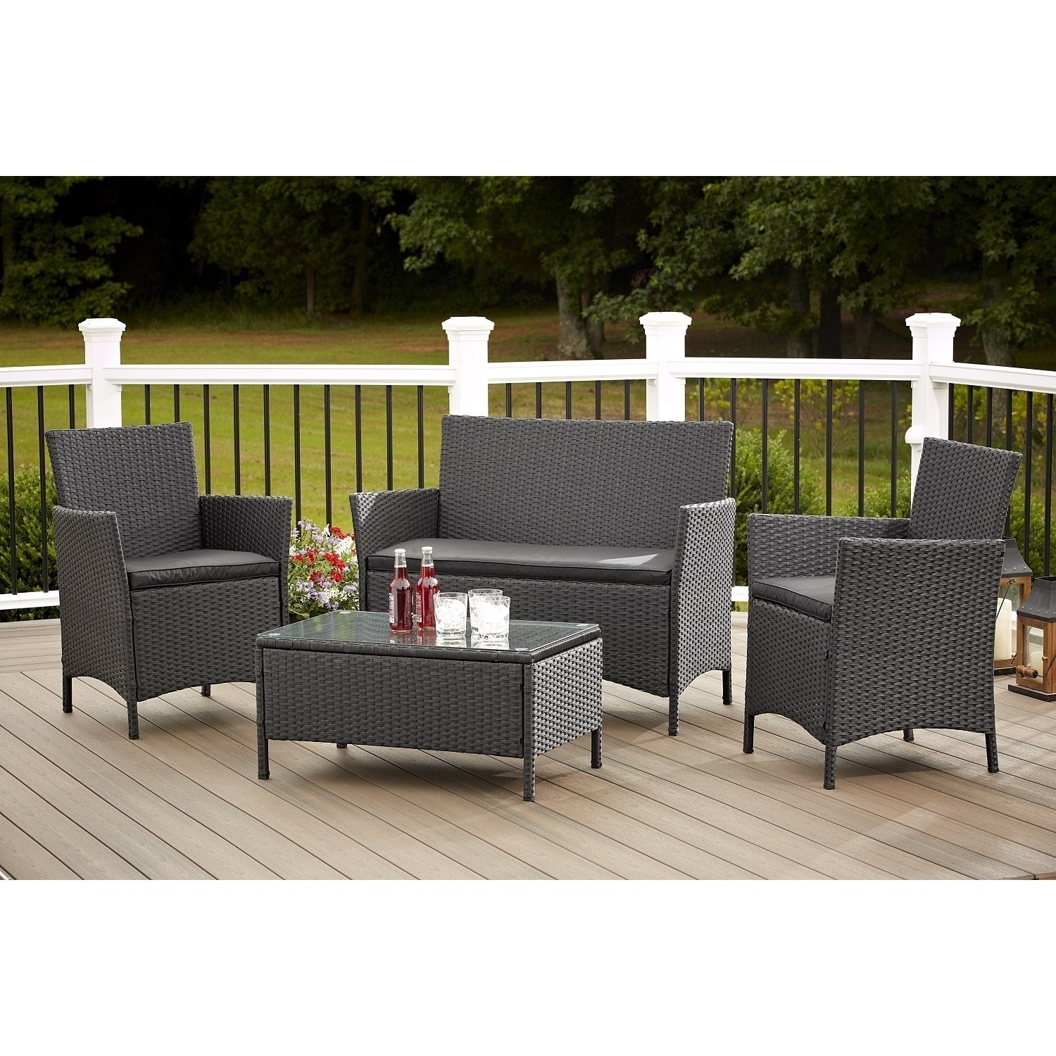 Widely Used Wicker 4Pc Patio Conversation Sets With Navy Cushions Throughout Shop Avenue Greene 4 Piece Resin Wicker Deep Seating Patio (View 7 of 15)