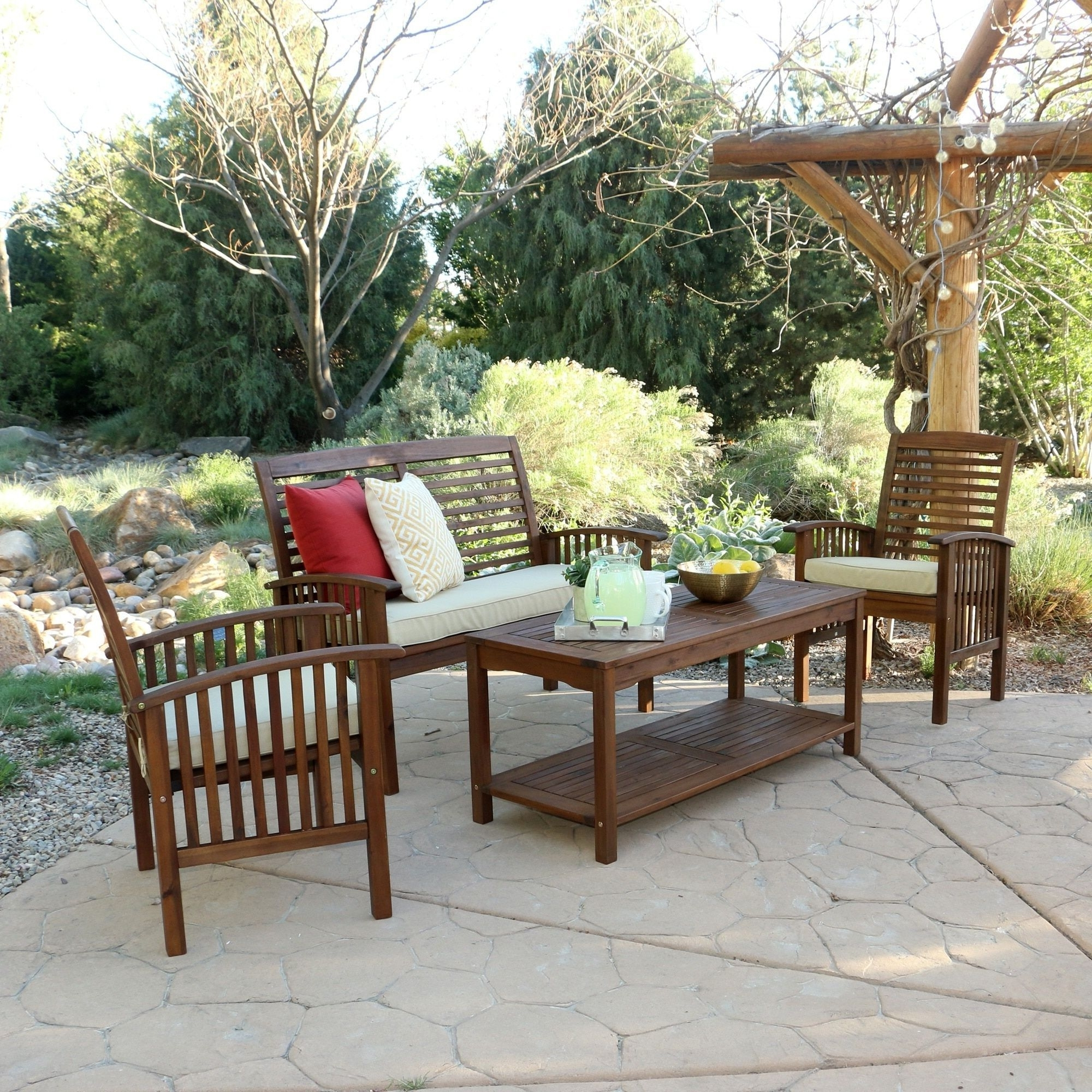 Wood Patio Furniture Conversation Sets In Most Up To Date 4 Piece Acacia Wood Patio Conversation Set, Brown, Size 4 Piece Sets (View 13 of 15)