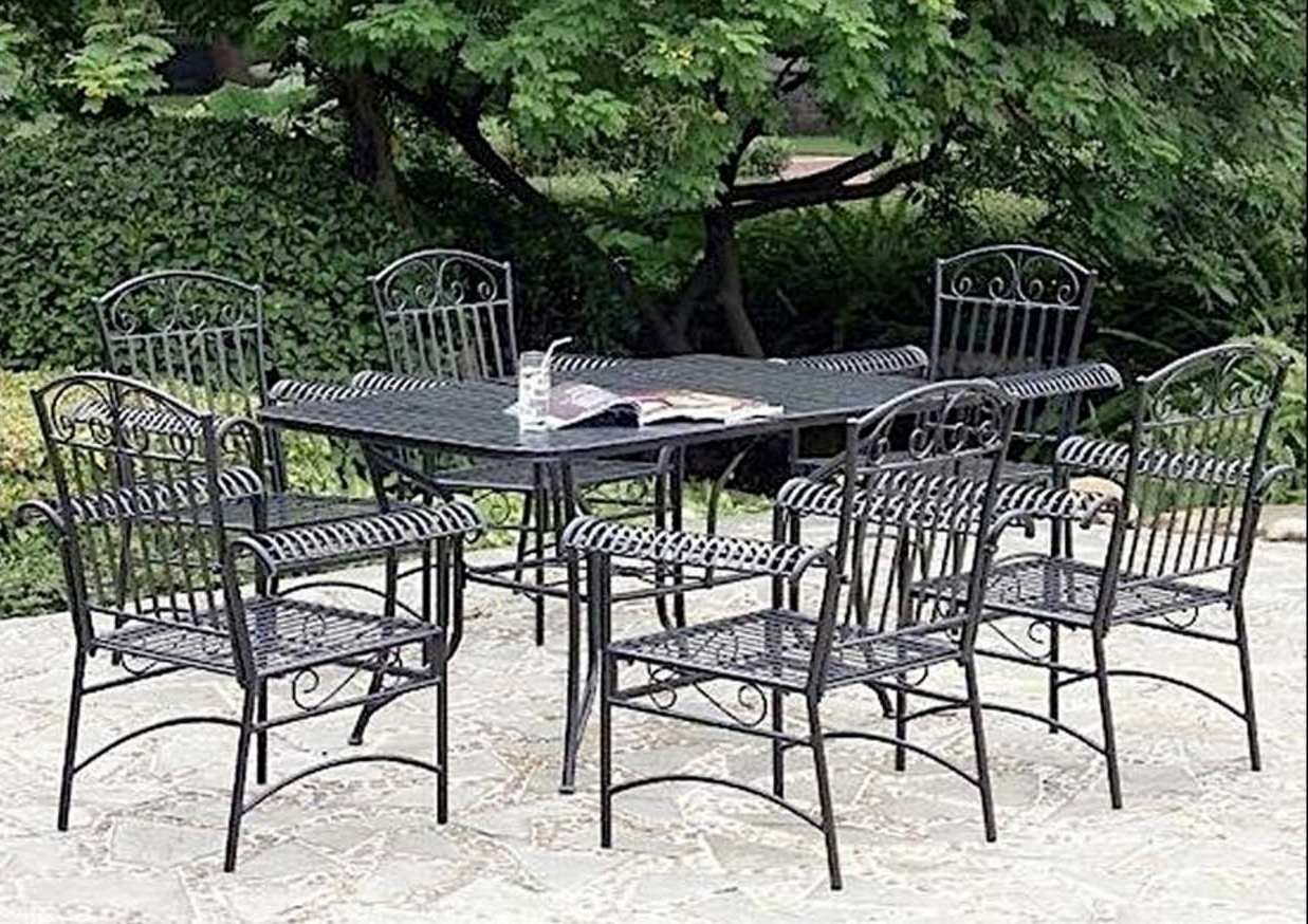 Wrought Iron Patio Conversation Sets In Famous Outstanding Patio Furniture Metal 12 Lawn Garden Fascinating Vintage (View 13 of 15)
