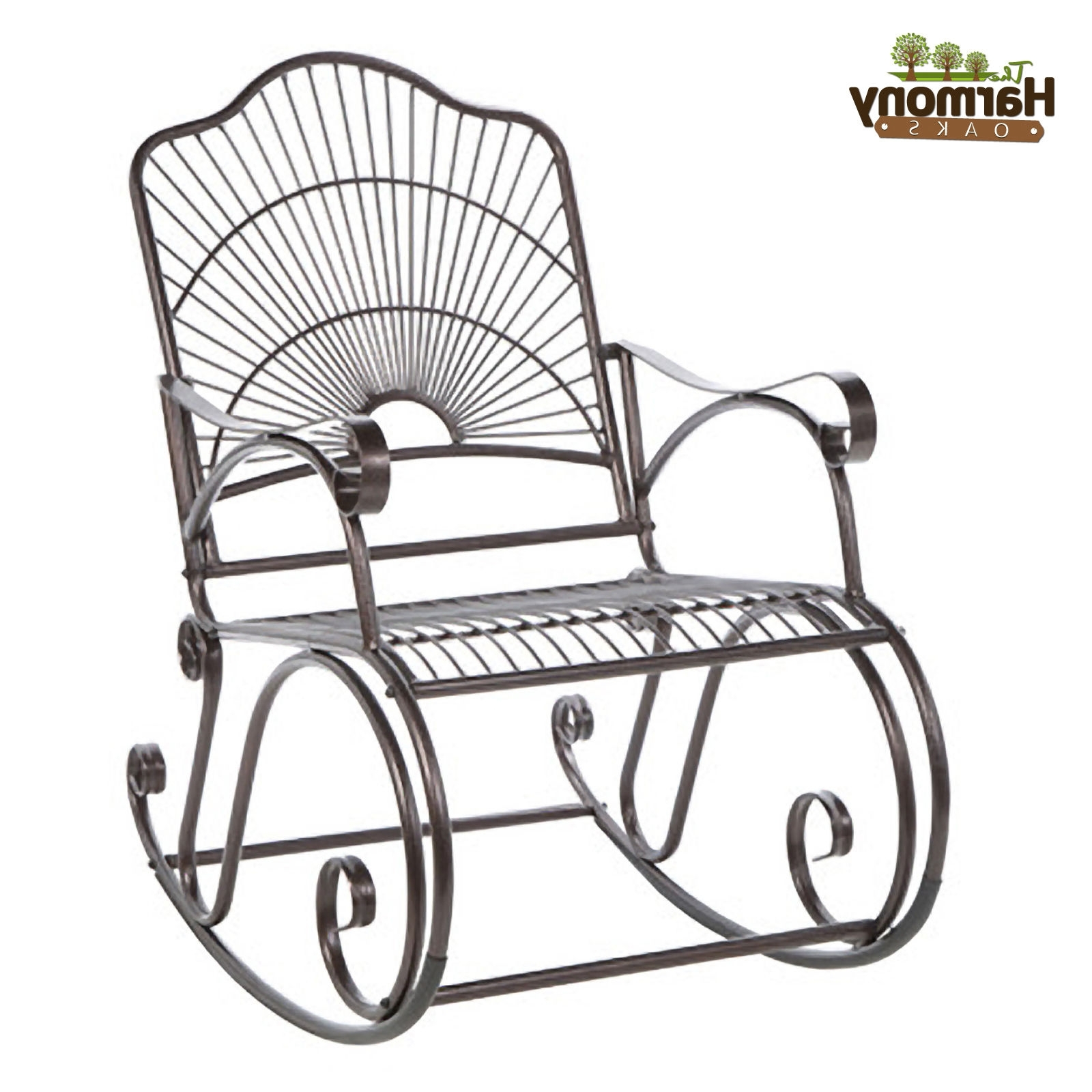Wrought Iron Patio Rocking Chairs Regarding Most Current Rocker Wrought Iron Outdoor Patio Porch New Furniture Wrought Iron (View 12 of 15)