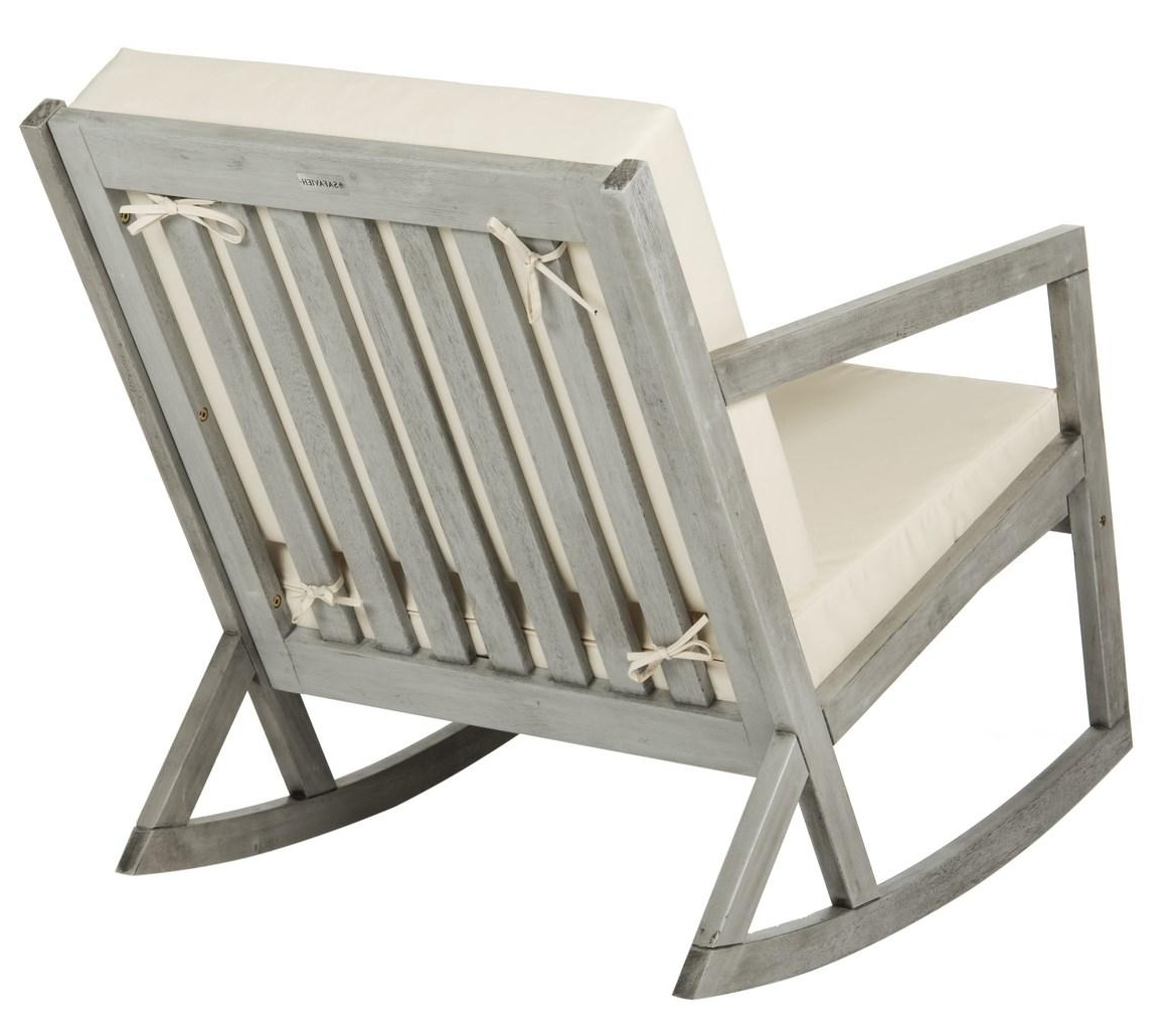 Zen Rocking Chairs Pertaining To Well Liked Cushioned Rocking Chair Outdoor Rocker Safavieh Back Gray Save Sams (View 3 of 15)