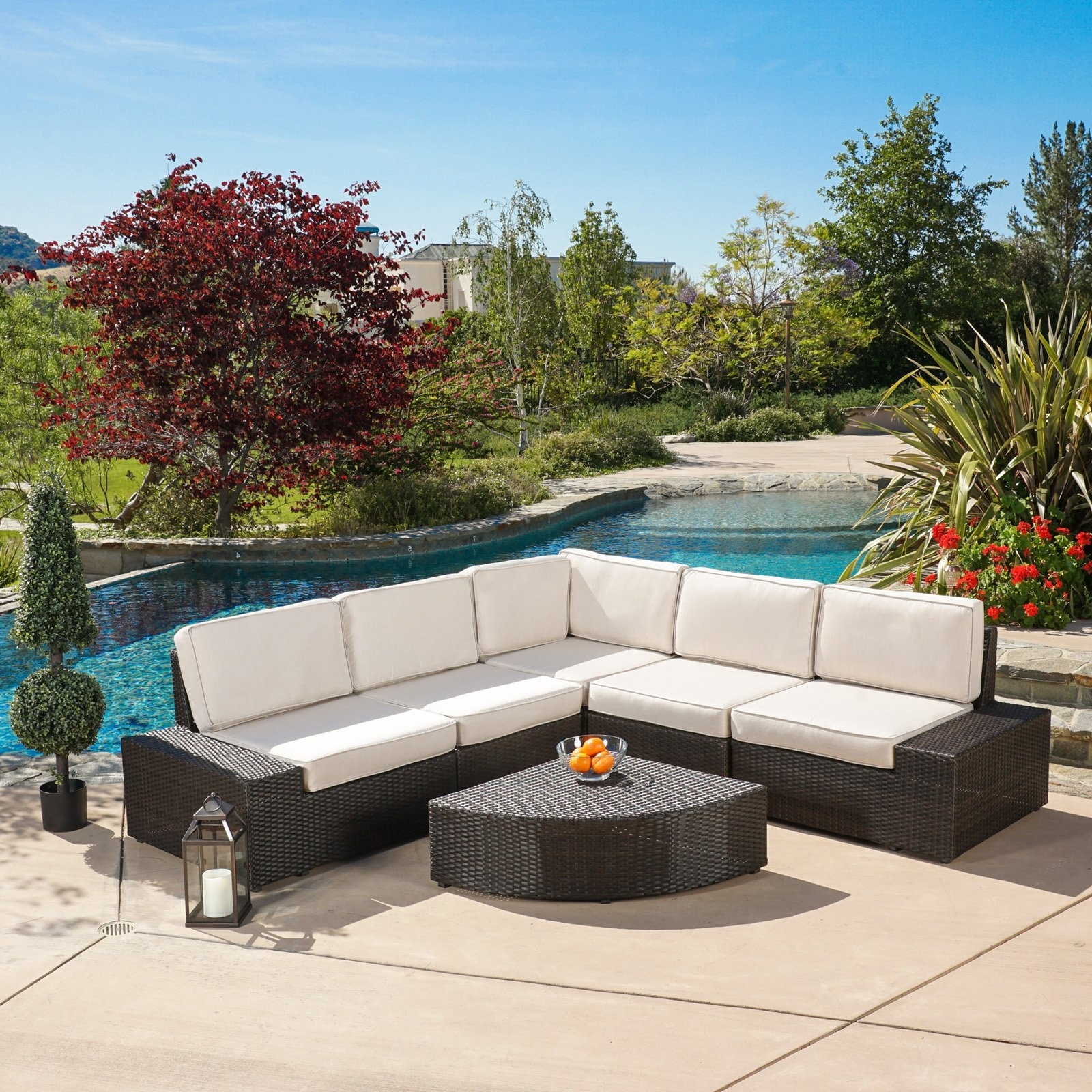 Zora Outdoor 6 Piece Sofa Conversation Set – Walmart Throughout Widely Used Patio Conversation Sets With Sunbrella Cushions (View 15 of 15)