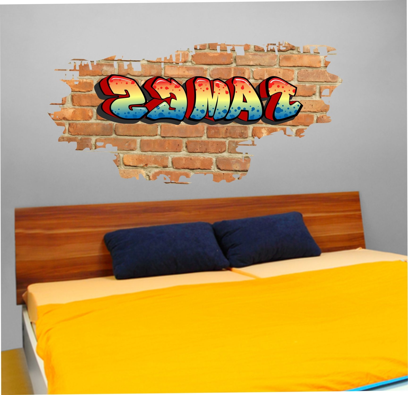 01 Personalised Graffiti Brick & Name Wall Sticker Pertaining To 2017 Name Wall Art (View 12 of 15)