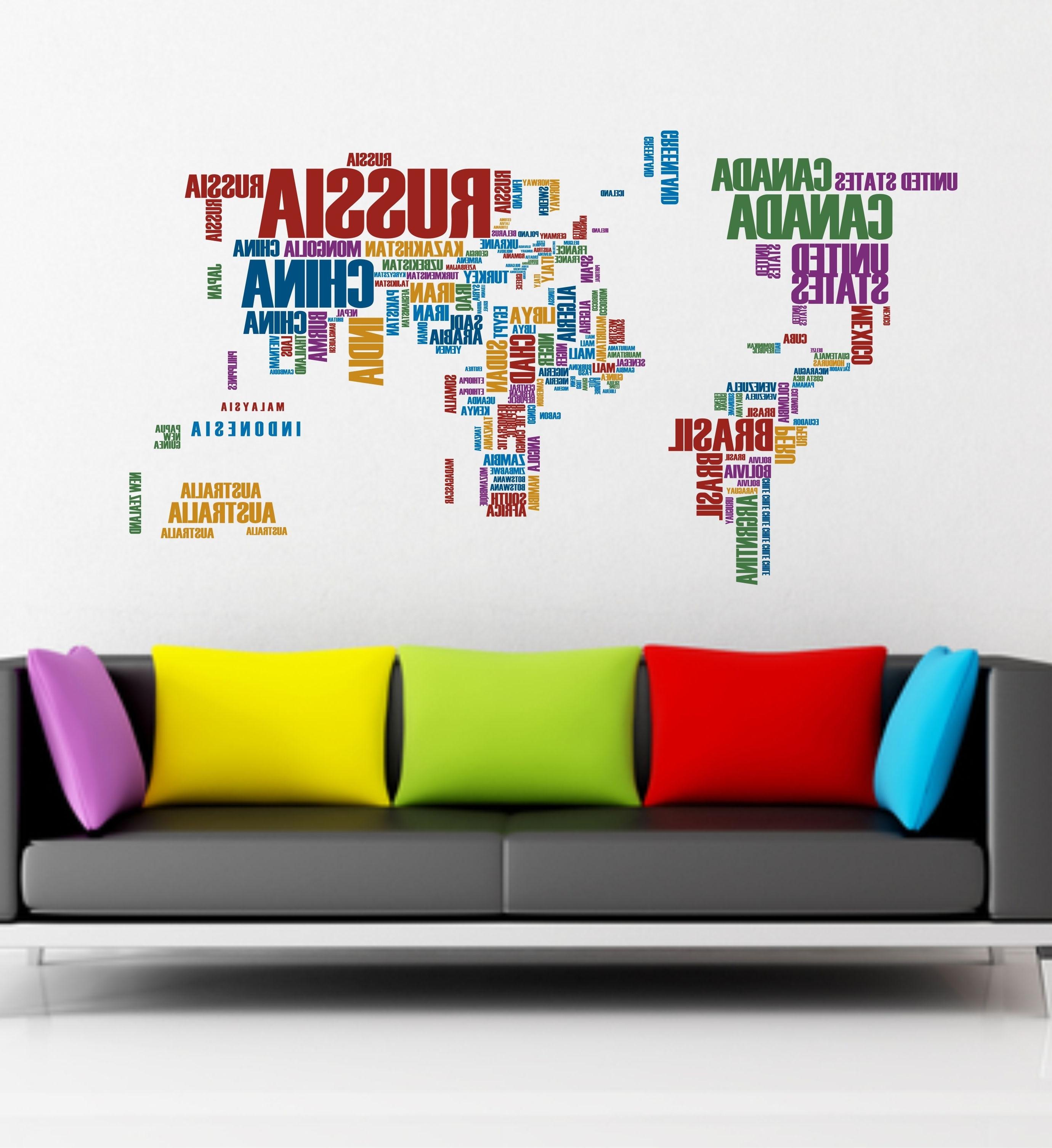 02 World Map Wall Sticker Art Vinyl (View 13 of 15)