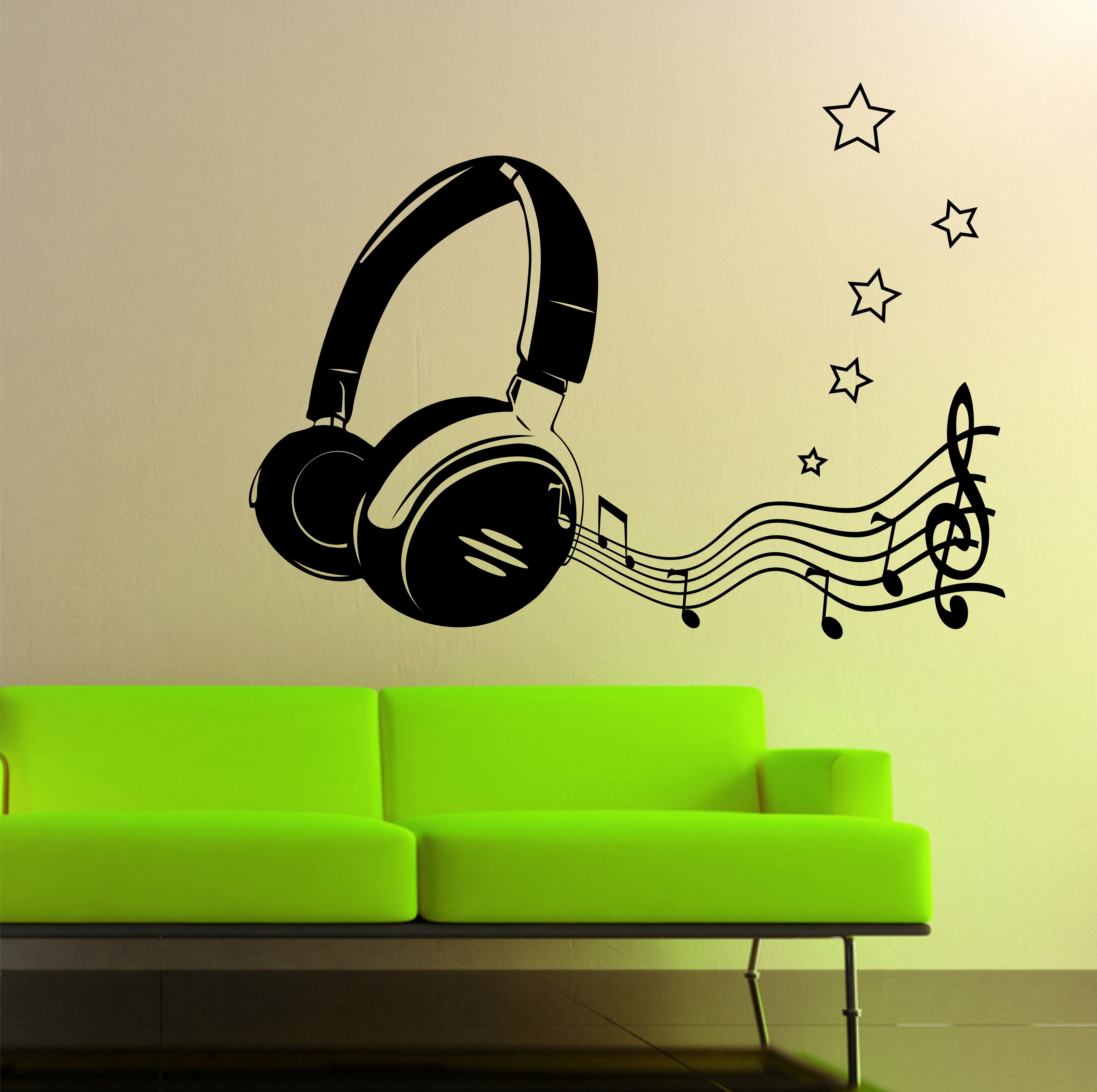 07 Headphone & Music Notes Wall Art Sticker with Most Recently Released Music Wall Art