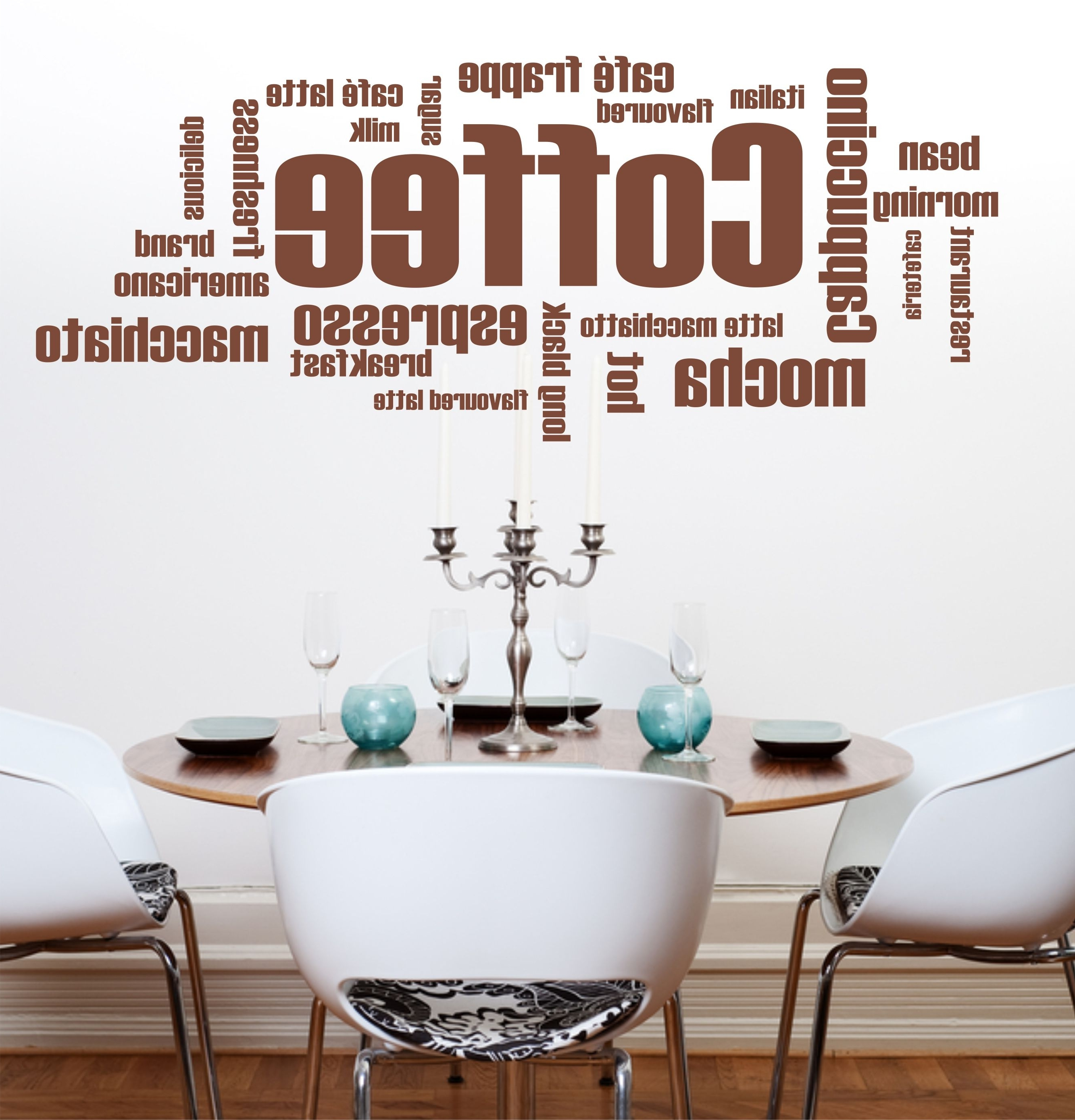 09 Coffee Words Wall Art Sticker (View 1 of 15)