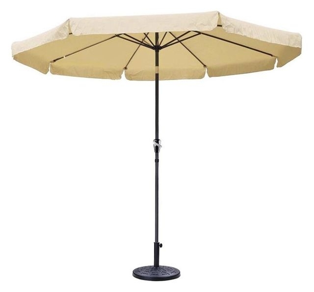 10' Aluminum Outdoor Patio Umbrella Crank Tilt With Valance And Base In Most Popular Patio Umbrellas With Valance (View 15 of 15)