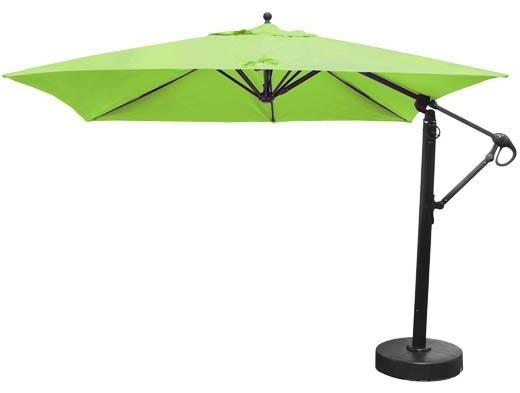 10 Foot Square Offset Patio Umbrella With Lime Green Sunbrella With Newest Sunbrella Outdoor Patio Umbrellas (View 13 of 15)
