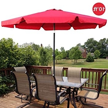 10Ft Outdoor Patio Umbrella Aluminum W/ Tilt Crank Valance – Red Intended For Recent Patio Umbrellas With Valance (View 2 of 15)