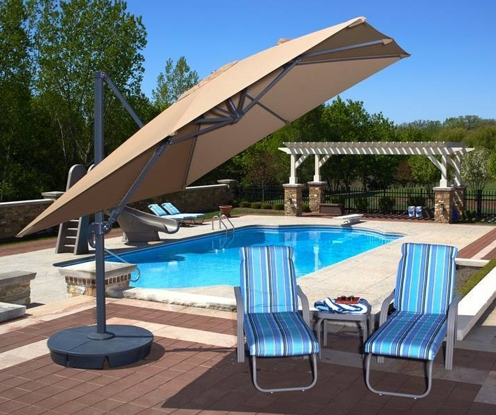 10Ft X 10Ft Sidepost Satorini Ii Offset Patio Umbrella With Valance Inside Favorite 10 Ft Patio Umbrellas (Gallery 7 of 15)