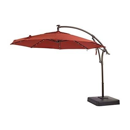 11 Ft. Sunbrella Patio Umbrellas Pertaining To Well Known Amazon : Hampton Bay 11 Ft. Led Offset Outdoor Patio Umbrella (Gallery 7 of 15)