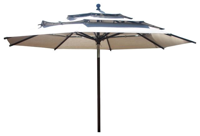 11' Round Market Umbrella, Aluminium Pole – Contemporary – Outdoor Regarding 2018 Wooden Patio Umbrellas (View 4 of 15)