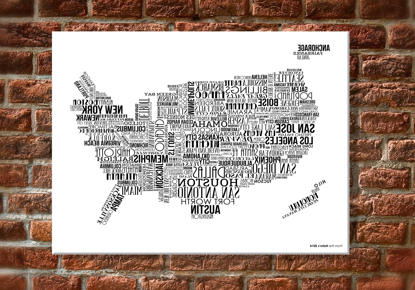 "12 X 18"" Canvas Wall Art – Usa Map With White Text Inside Famous Usa Map Wall Art (Gallery 1 of 15)"