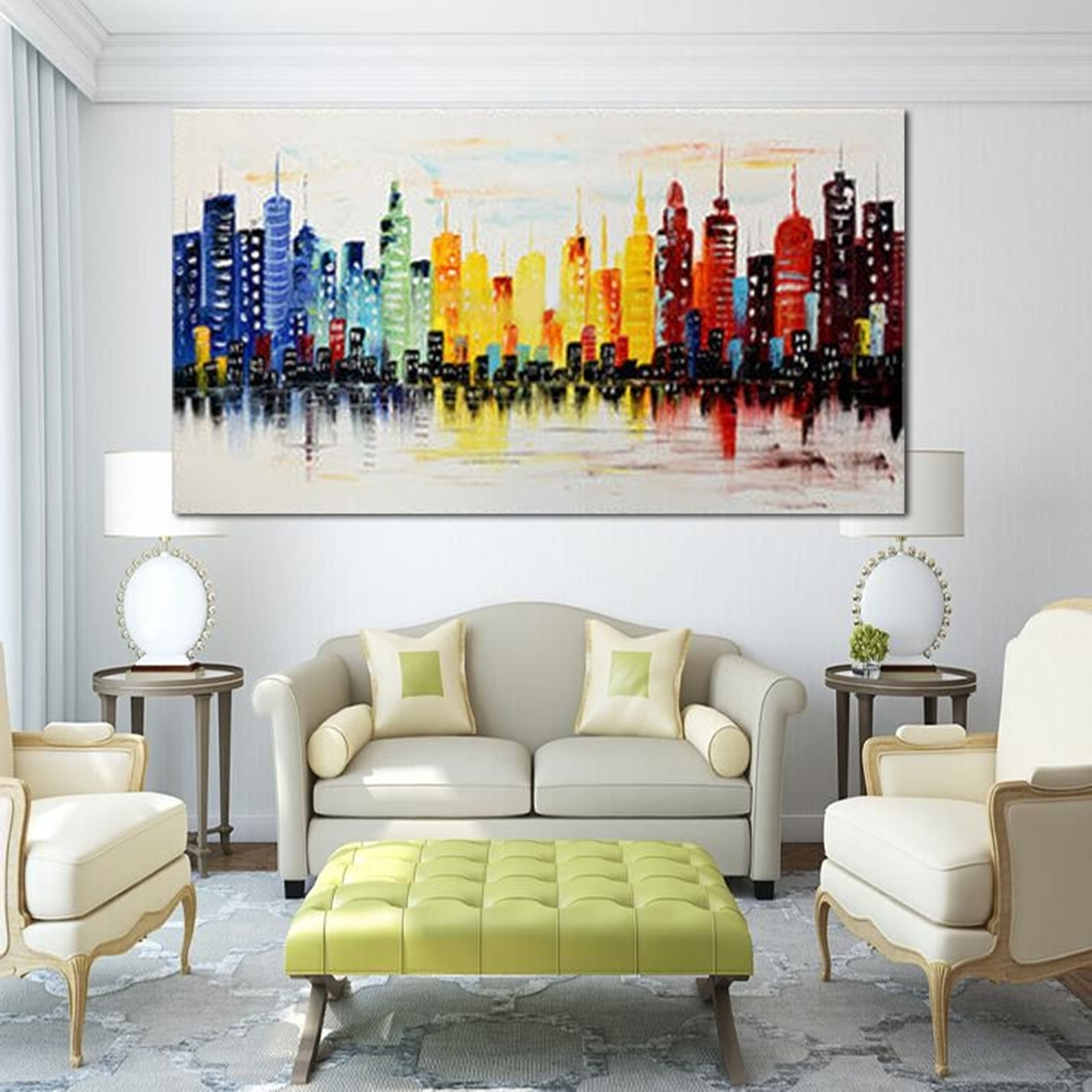 120X60Cm Modern City Canvas Abstract Painting Print Living Room Art Throughout Preferred Living Room Painting Wall Art (View 1 of 15)