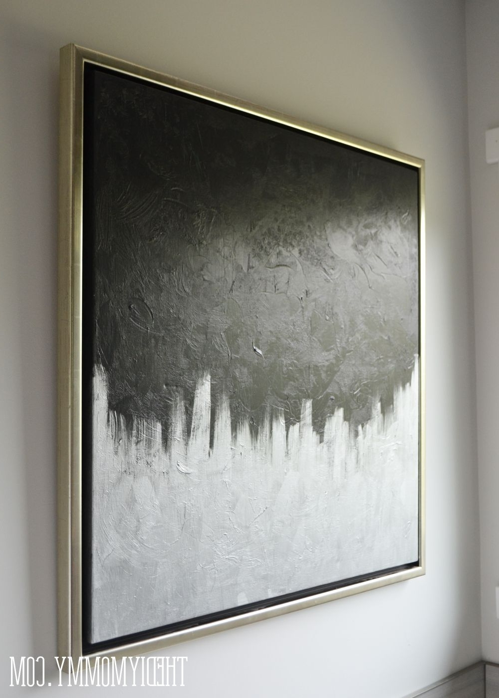 $13 Diy Silver & Black Modern Canvas Art From A Thrifted Painting Regarding Most Recently Released Grey And White Wall Art (View 1 of 15)