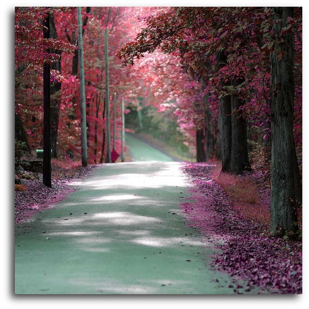 "16 In. X 20 In. ""majestic Pink Road"" Canvas Wall Art Web Po112 – The Intended For Best And Newest Pink Wall Art (Gallery 13 of 15)"
