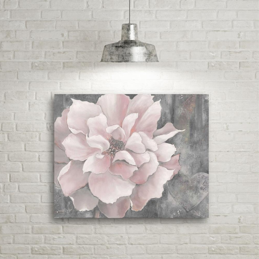 "16 In. X 20 In. ""pink And Gray Magnolia"" Canvas Wall Art Web Sc329 Pertaining To Current Pink Wall Art (Gallery 5 of 15)"