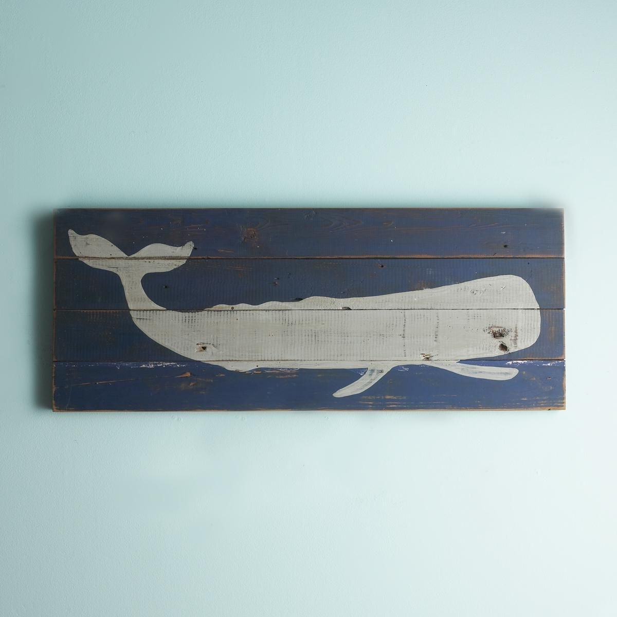 16X40 Whale Silhouette Plank Wall Art Panel (View 1 of 15)